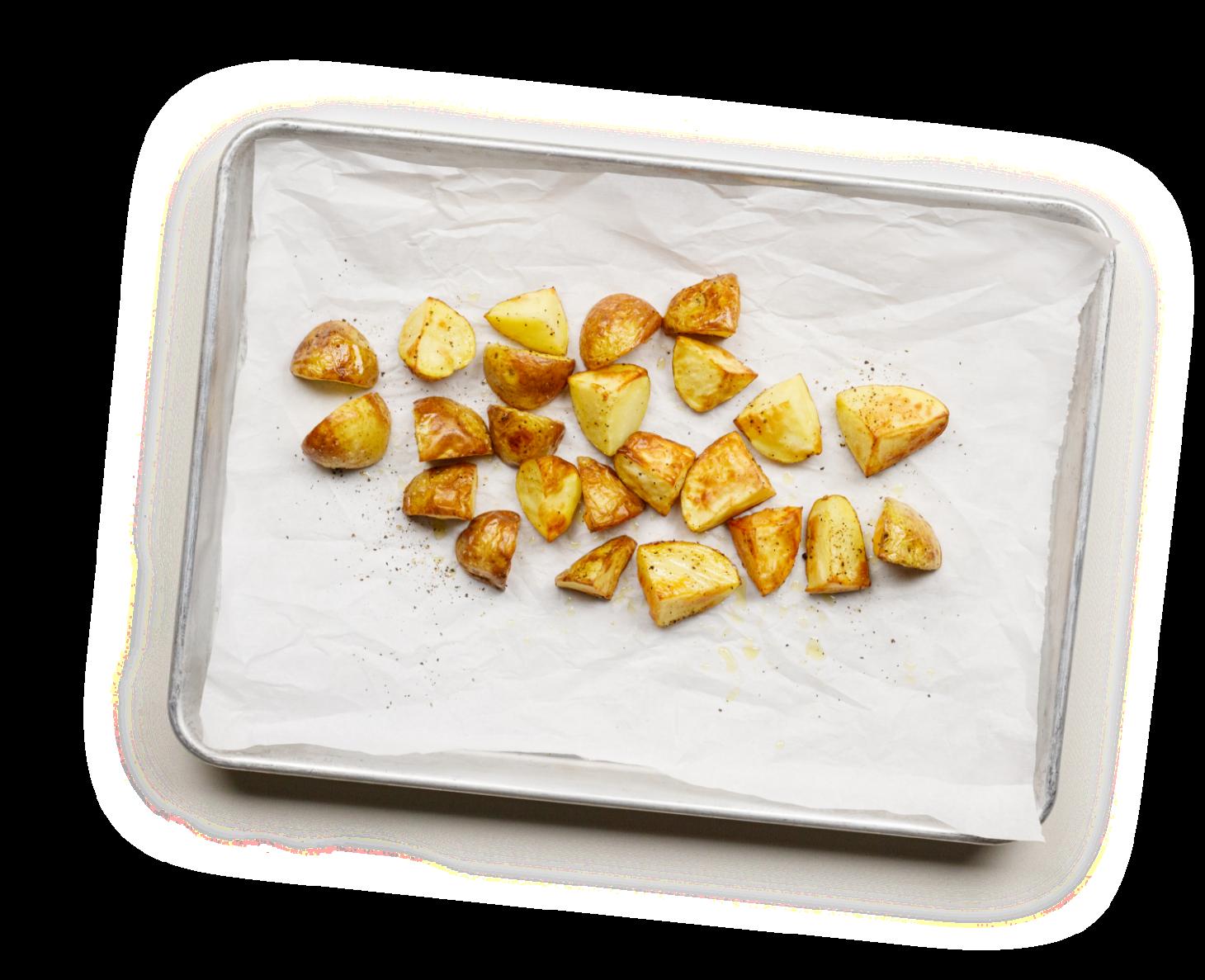 Seasoned potatoes on a sheet pan
