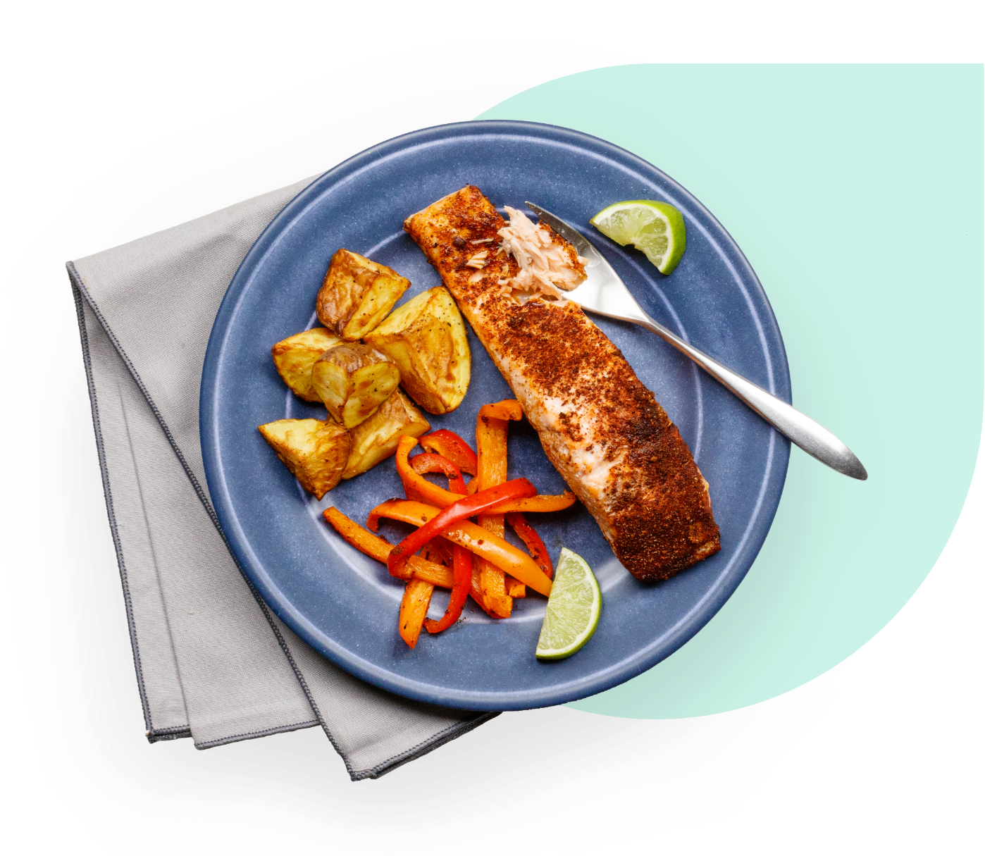 Cooked salmon on  plate with vegetables ready to be eaten
