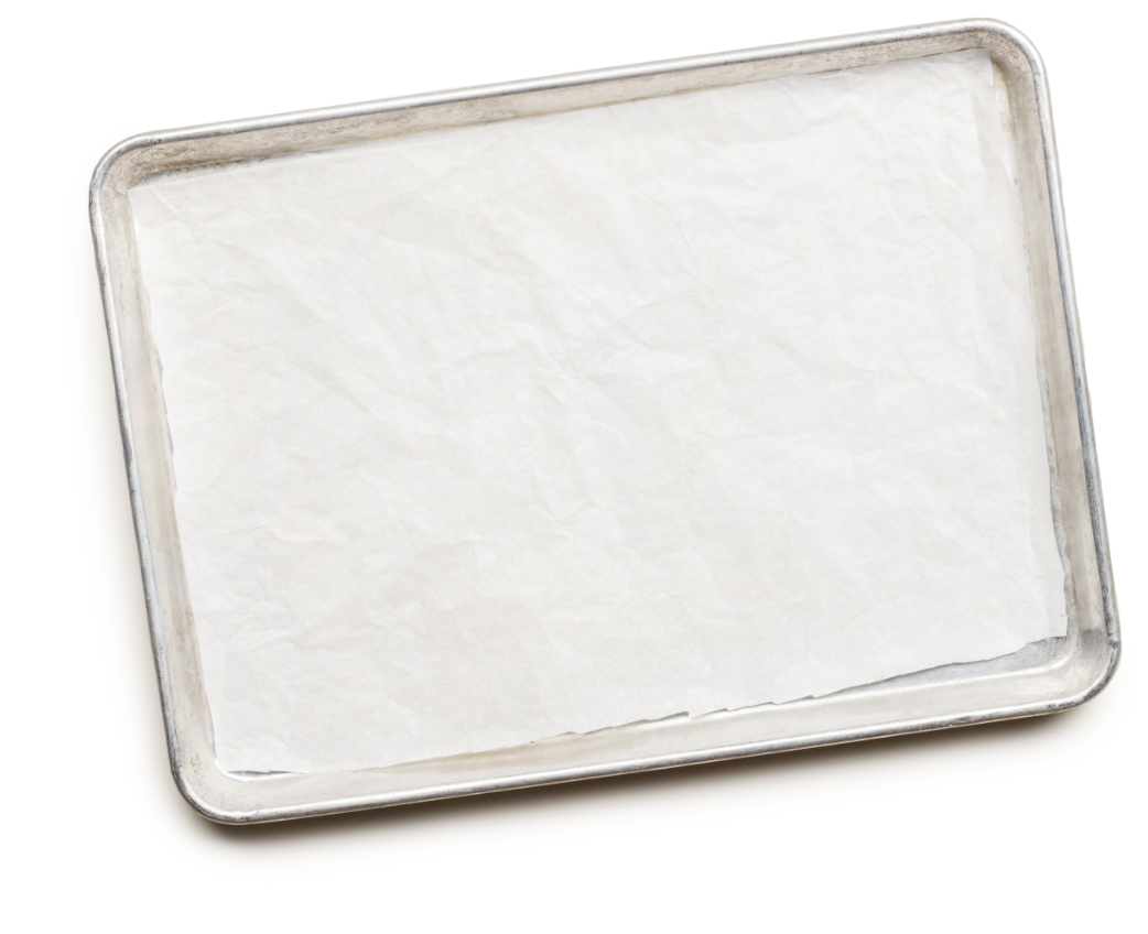 Empty sheet pan with parchment paper