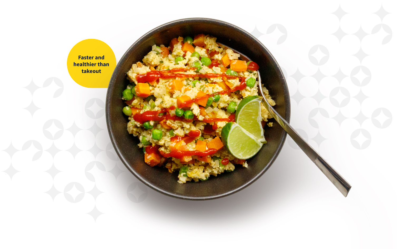 Healthy cauliflower fried rice in a dish ready to eat