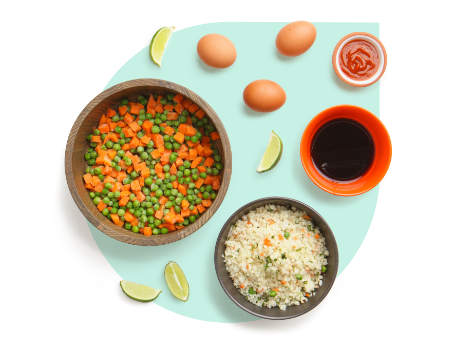 Collection of recipe ingredients for cauliflower fried rice