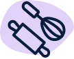 Icon for cooking tools denoting cooking tool section