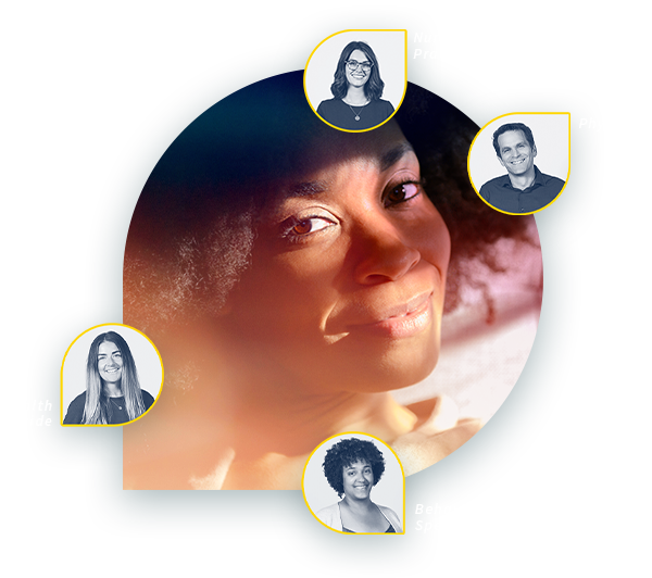 A Firefly member with their personalized care team which includes a physician, nurse practitioner, health guide, and behavioral health specialist.