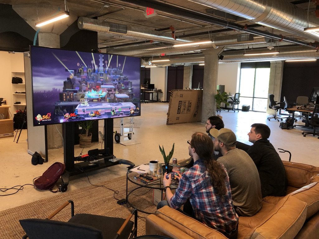 headway office playing nintendo switch game