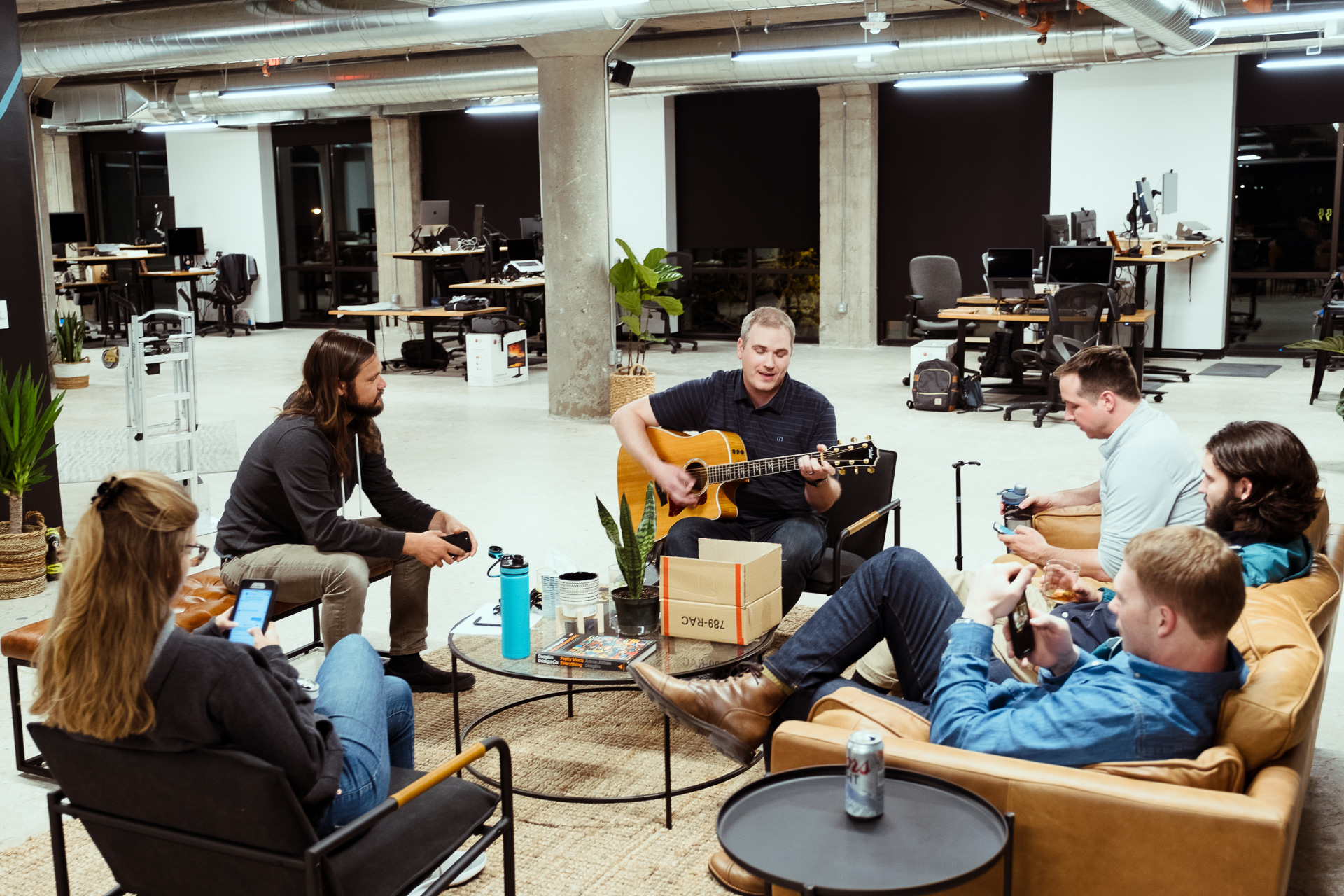 headway development team playing music together