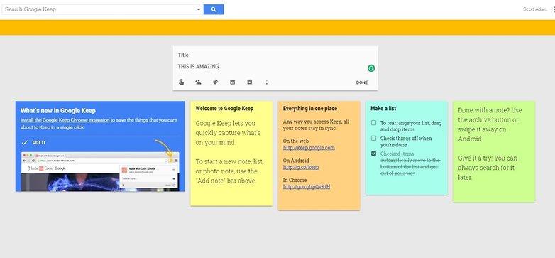 Google Keep Onboarding