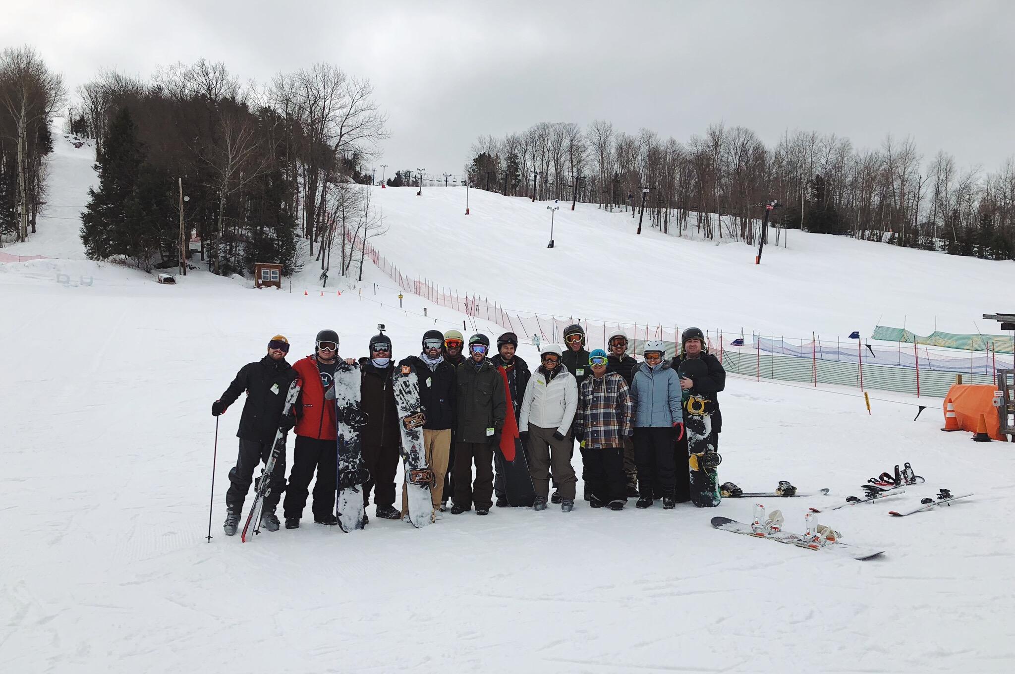Team photo at ski hill