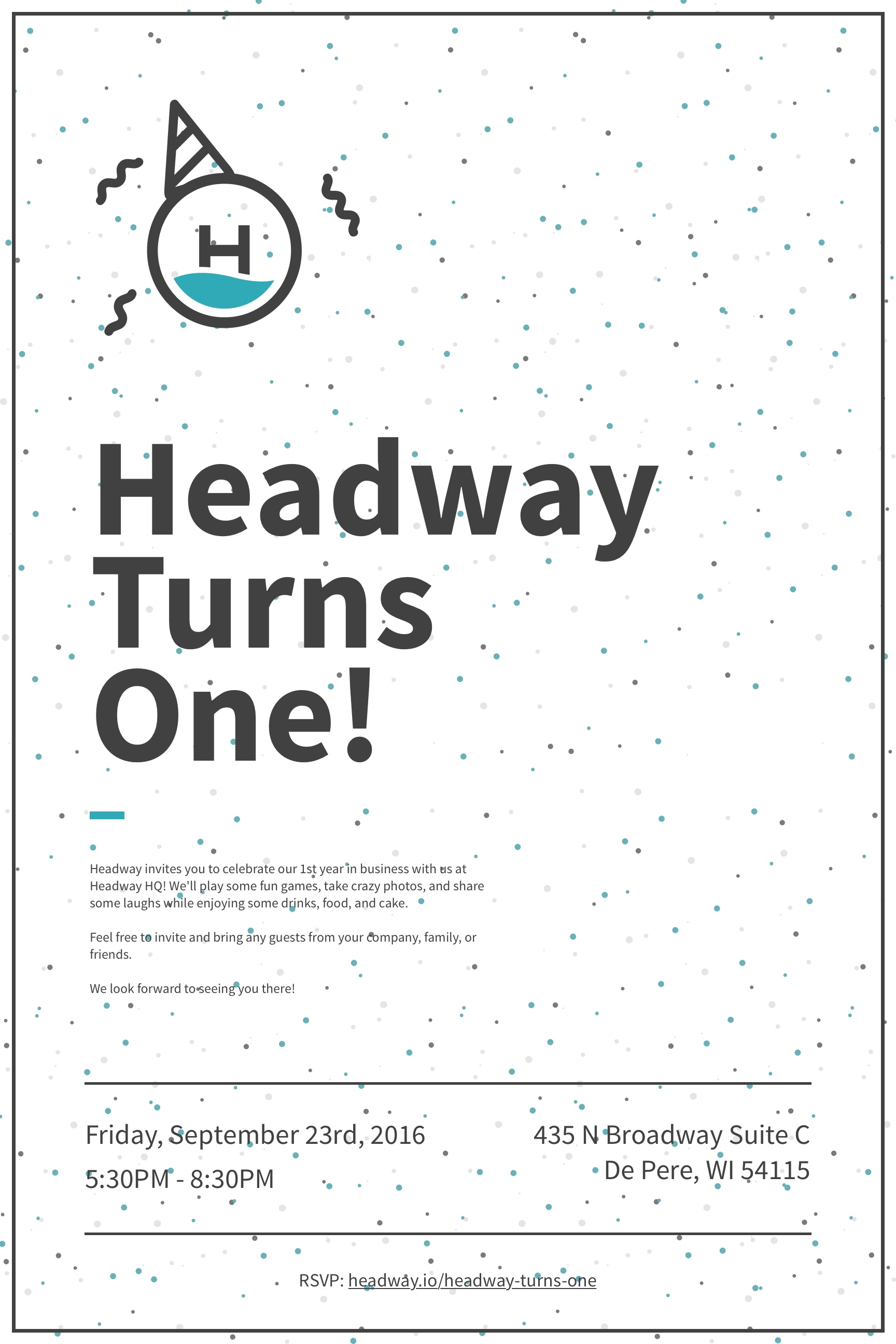 headway first anniversary poster graphic