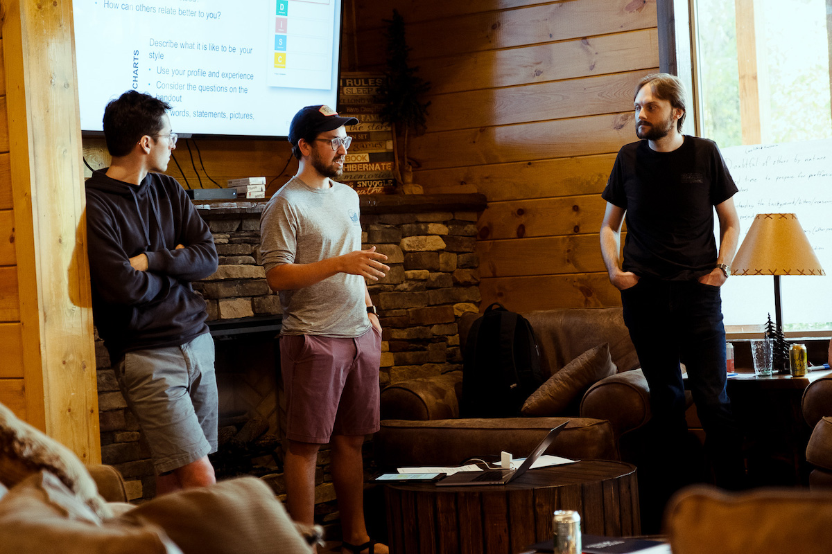 three web developers presenting topics