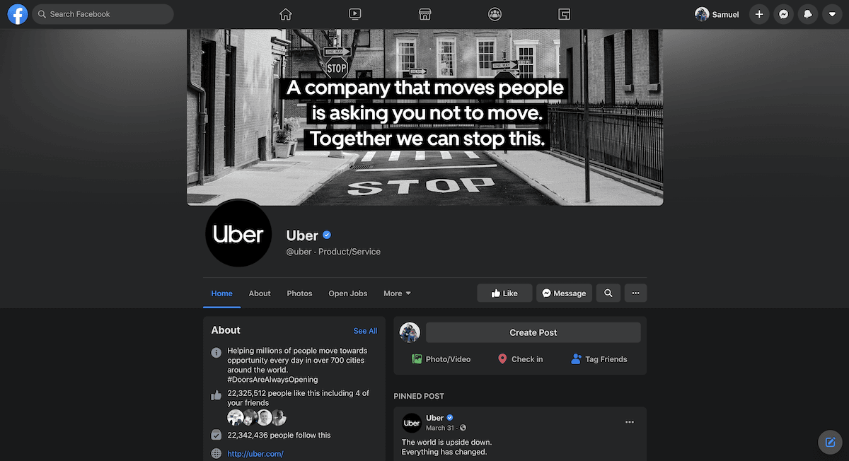 uber facebook page screenshot