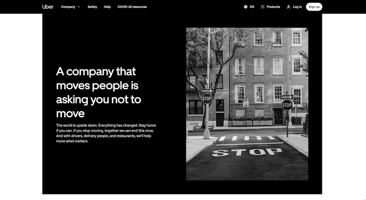 uber website screenshot