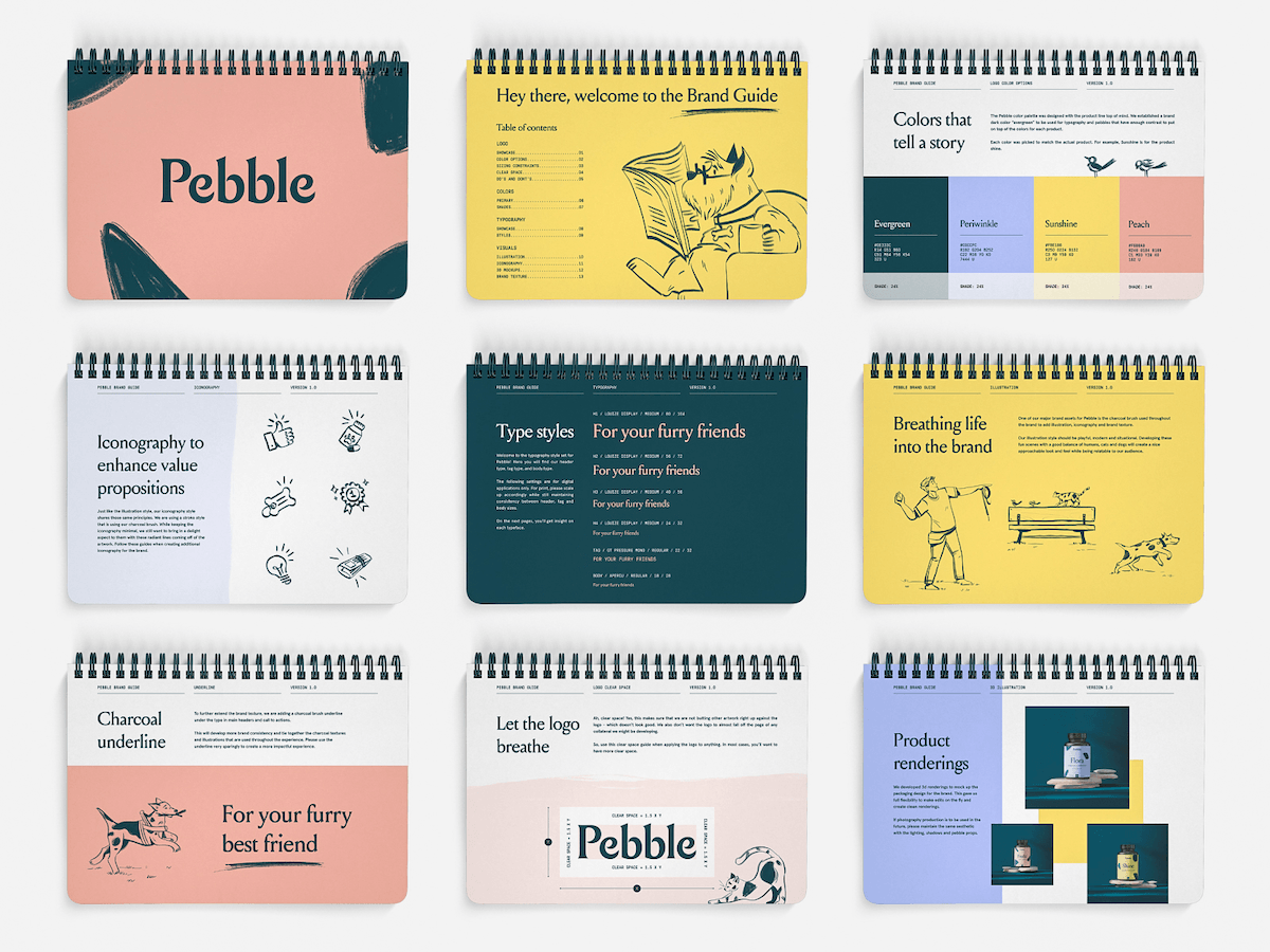 layout of pebble brand guide
