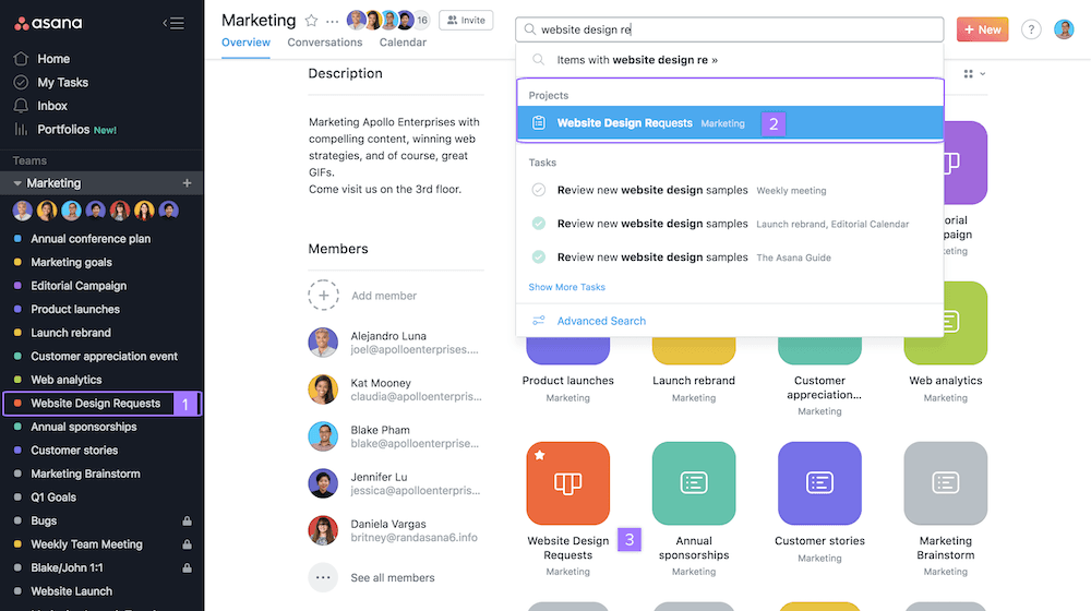 screenshot of asana team dashboard