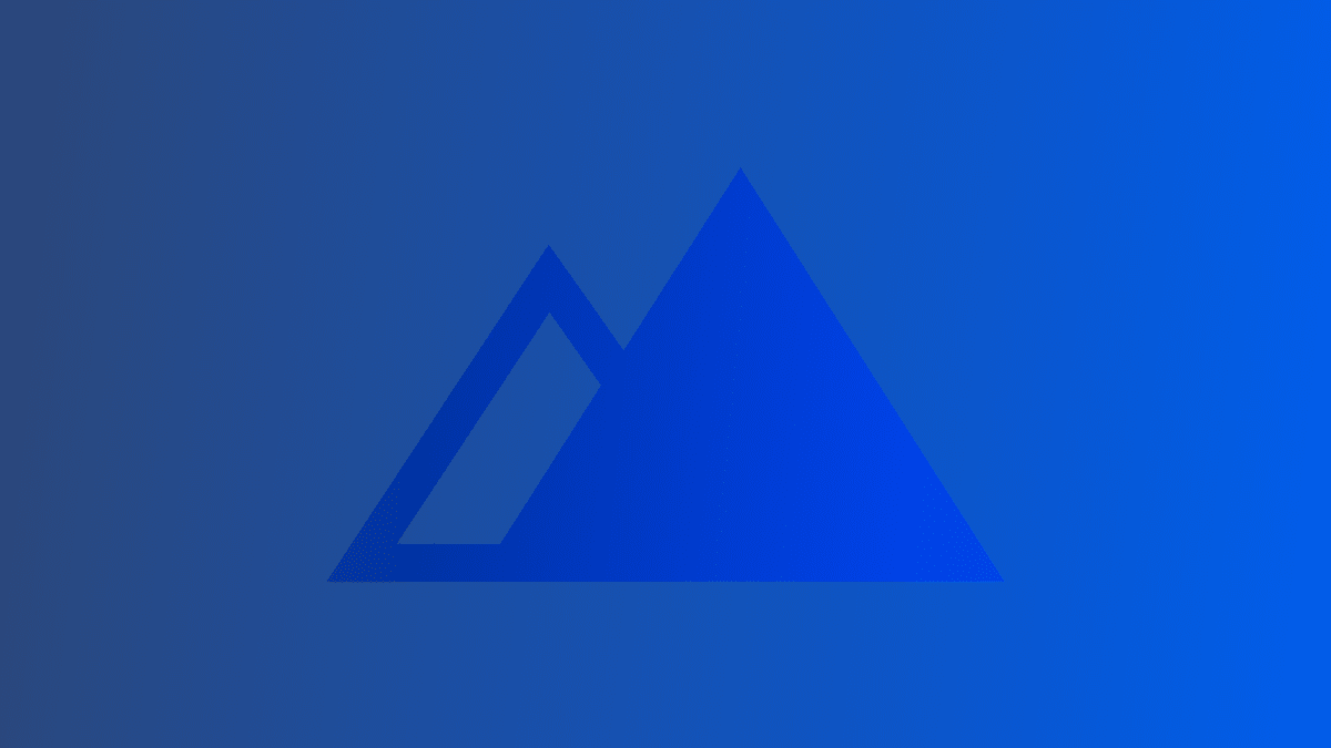 mountain graphic over gradient blue background