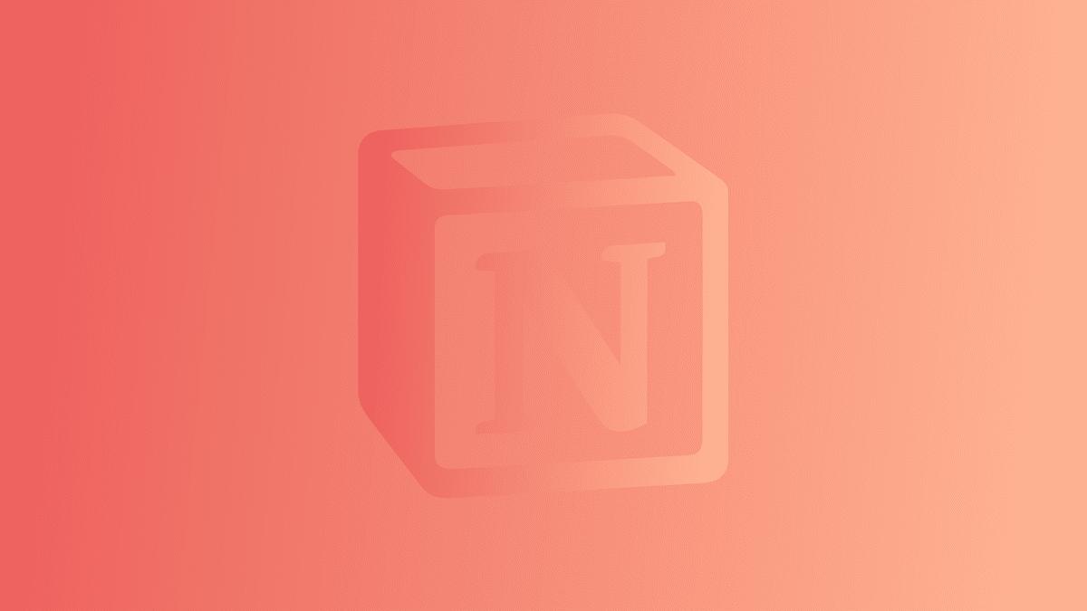 notion logo on orange gradient graphic