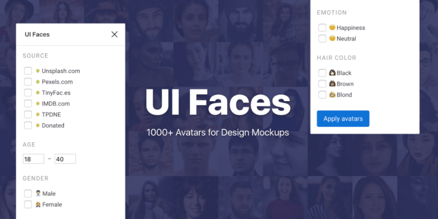 promo graphic for ui faces plugin for Figma