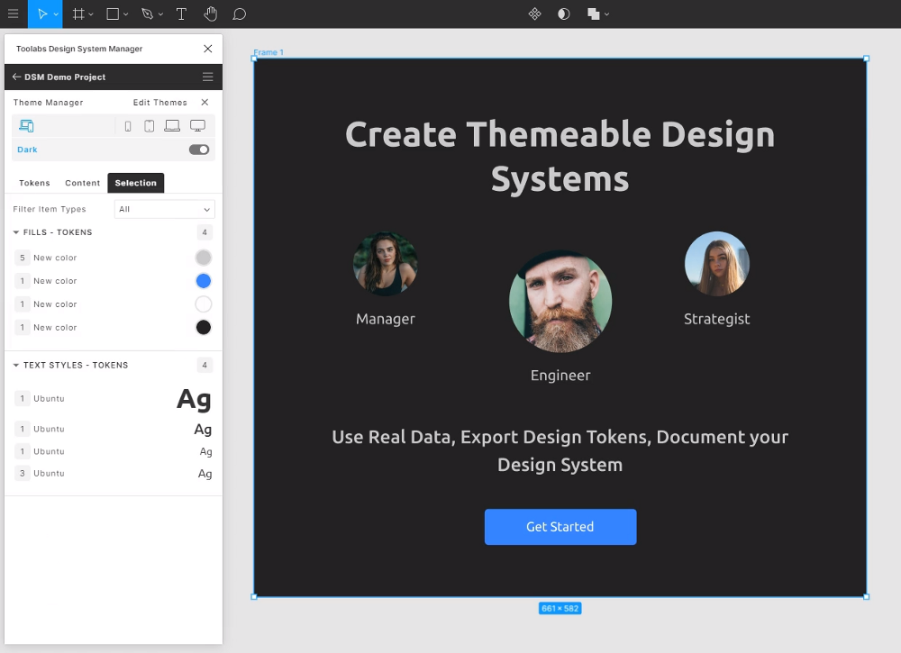 screenshot of toolabs design system manager