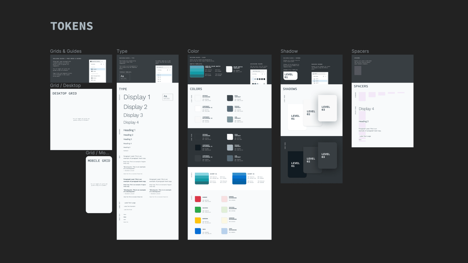 design system tokens example in figma file