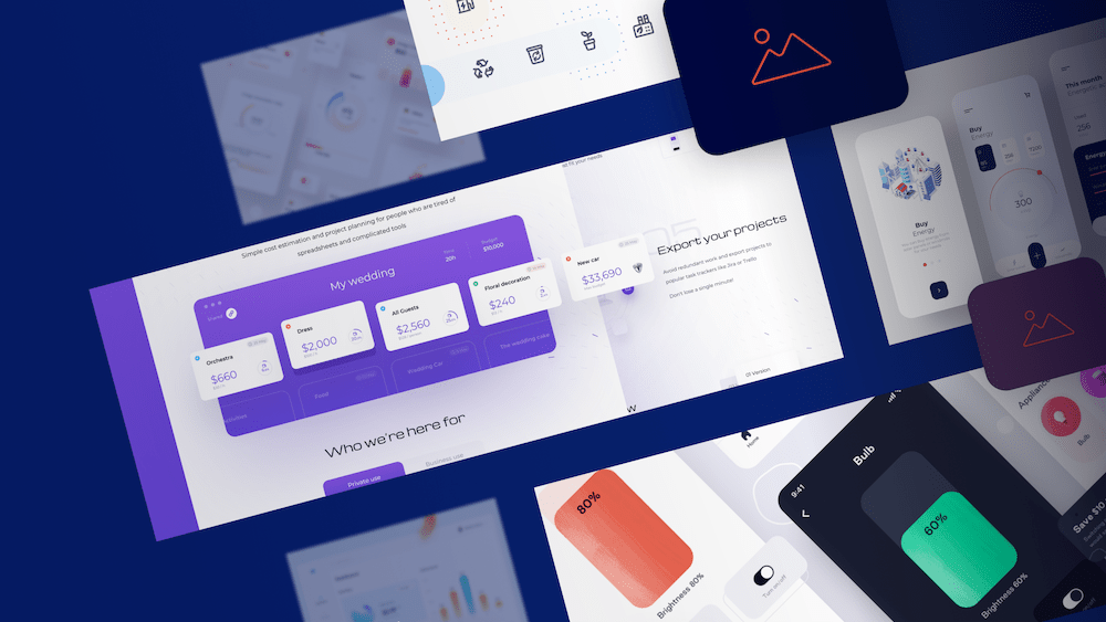 ui design moodboards example with floating app interfaces