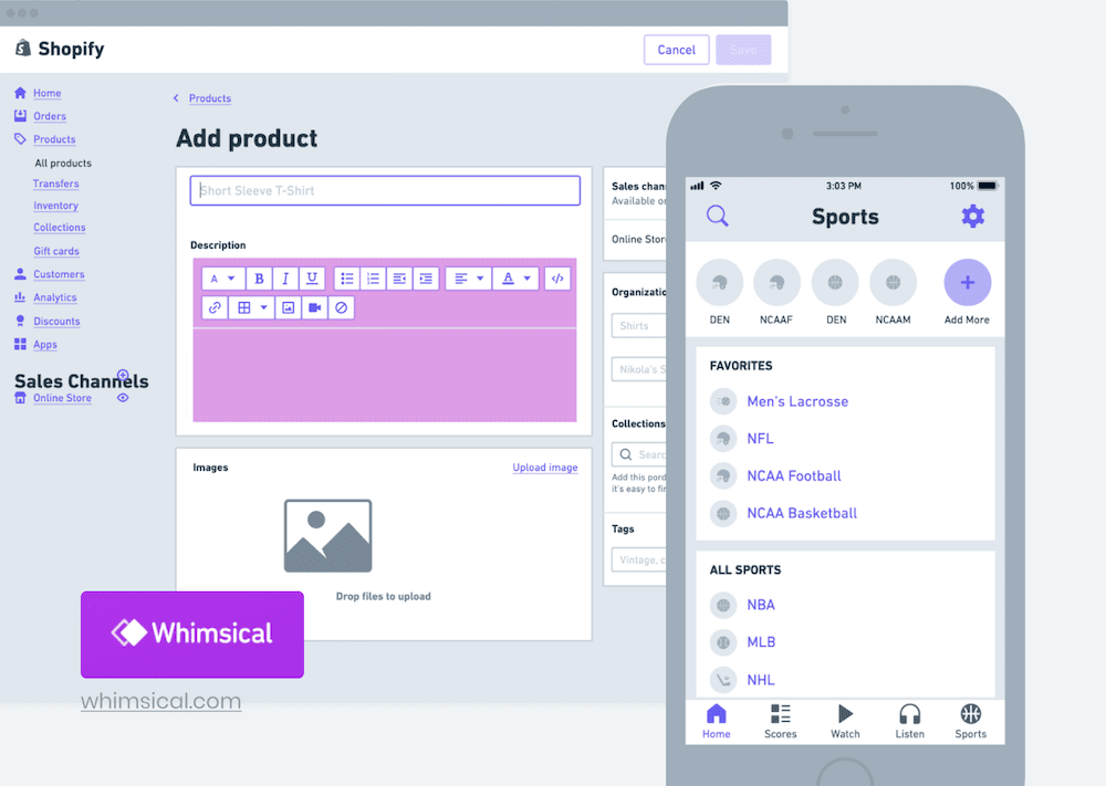 screenshot of whimsical mobile app wireframe