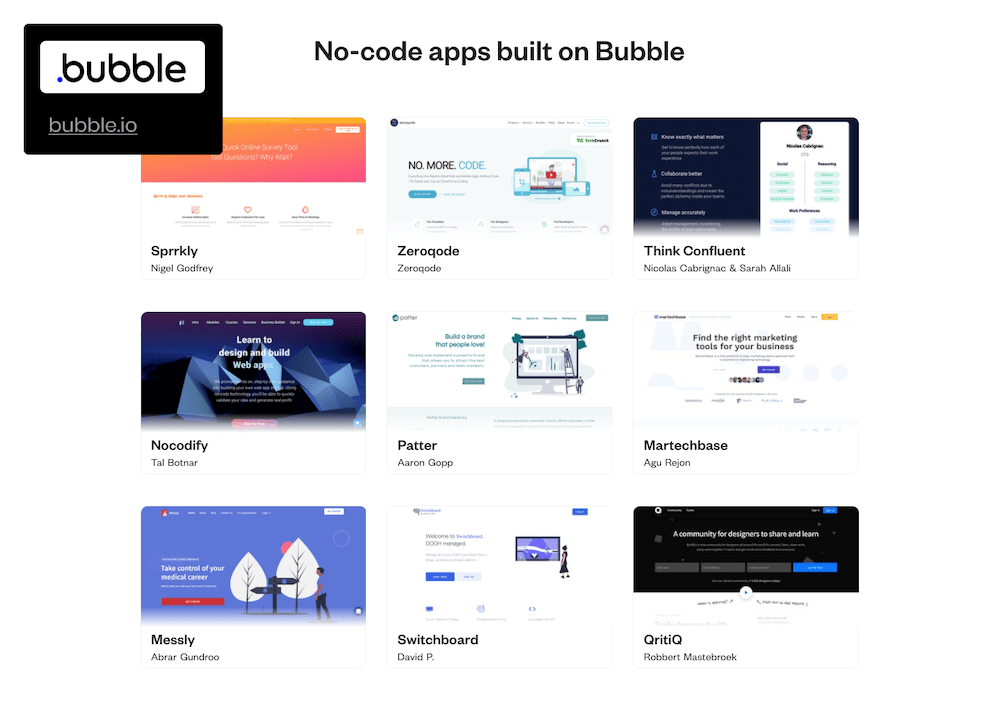 examples of bubble apps in screenshot