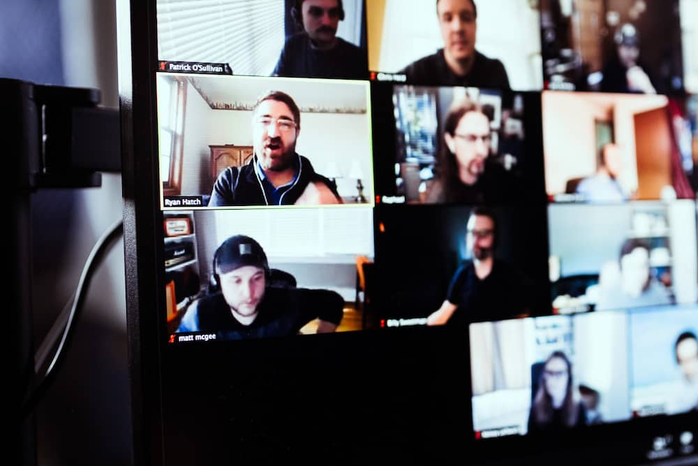 photo of design team on zoom call
