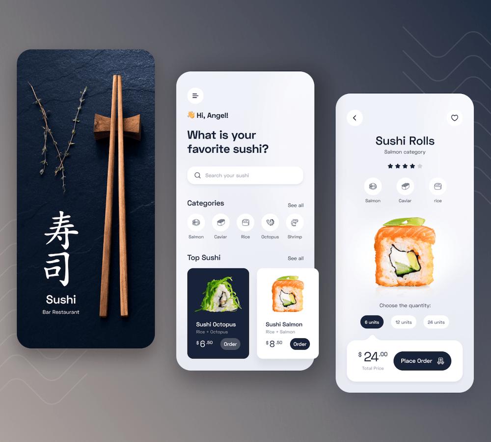 sushi restaurant mobile app ui example