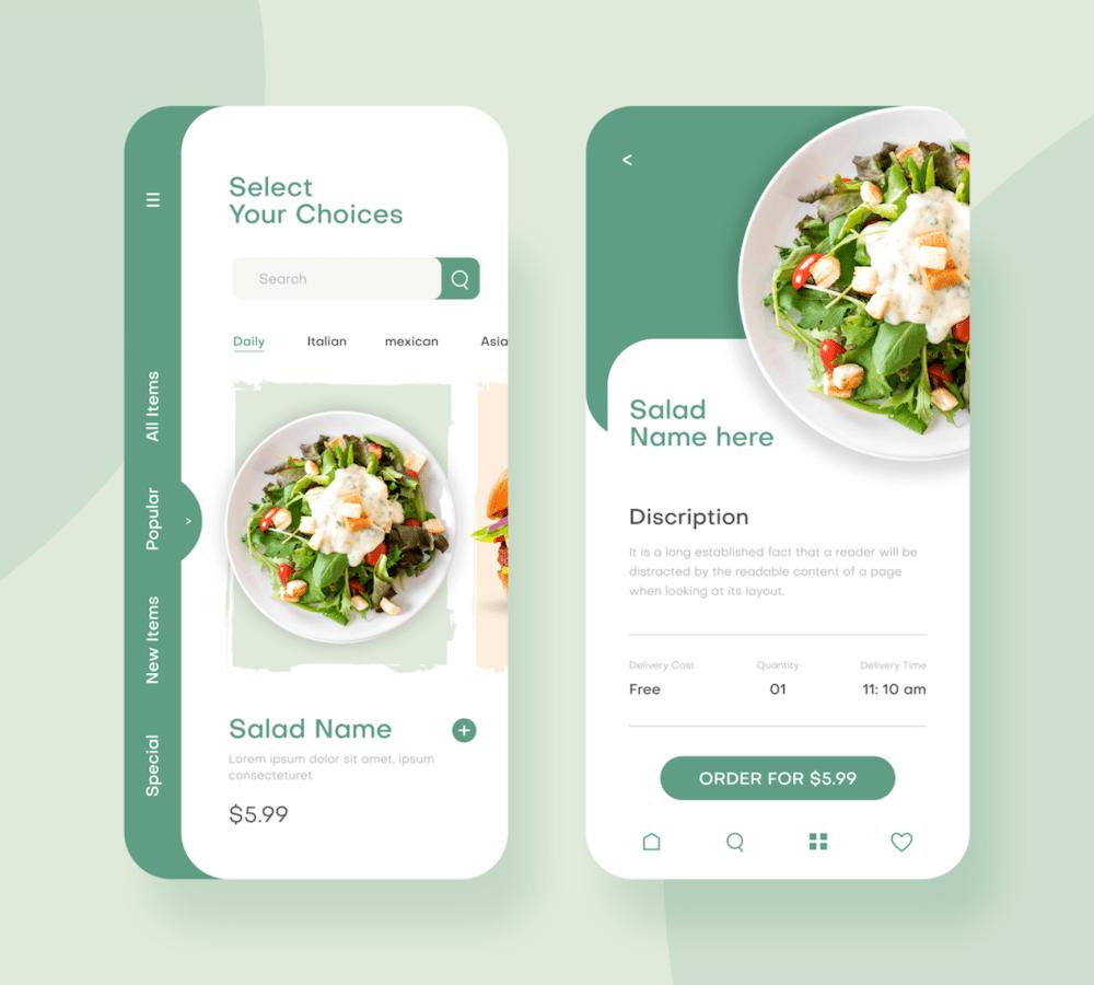 restaurant order mobile app ui example