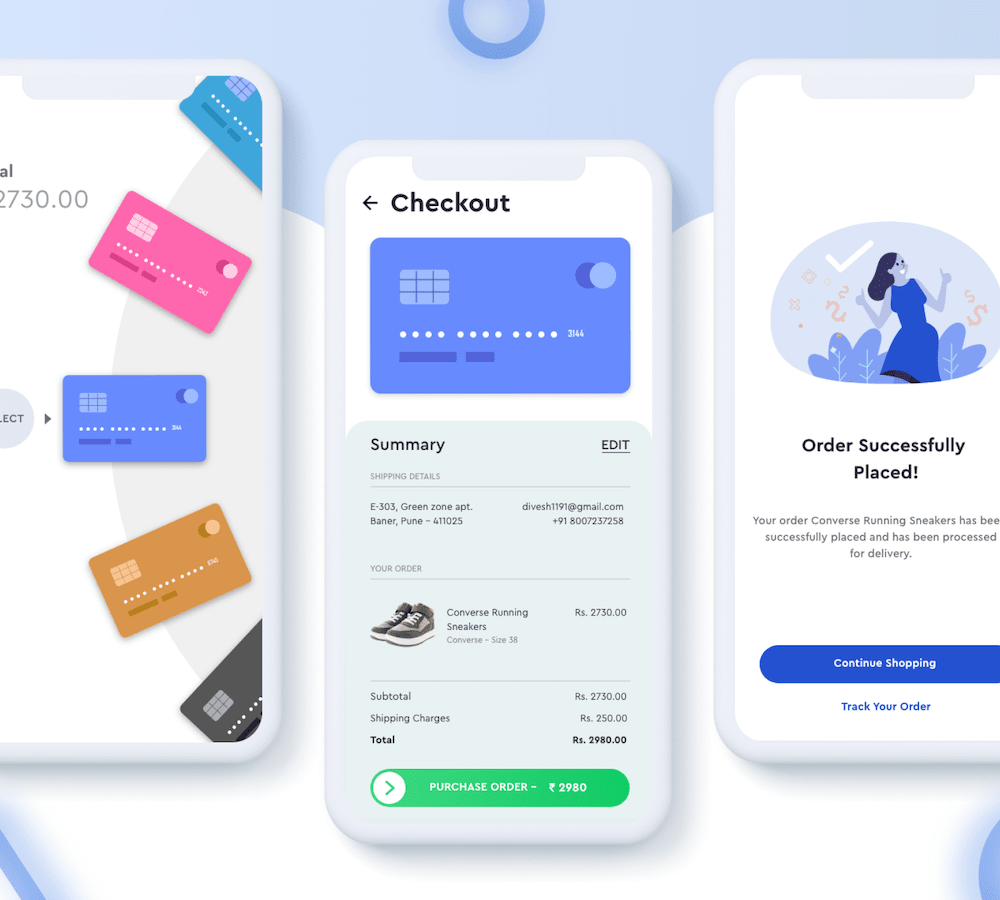 mobile shopping app checkout ui example