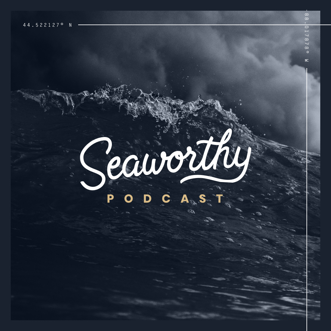 Seaworthy Podcast logo on top of wave photo