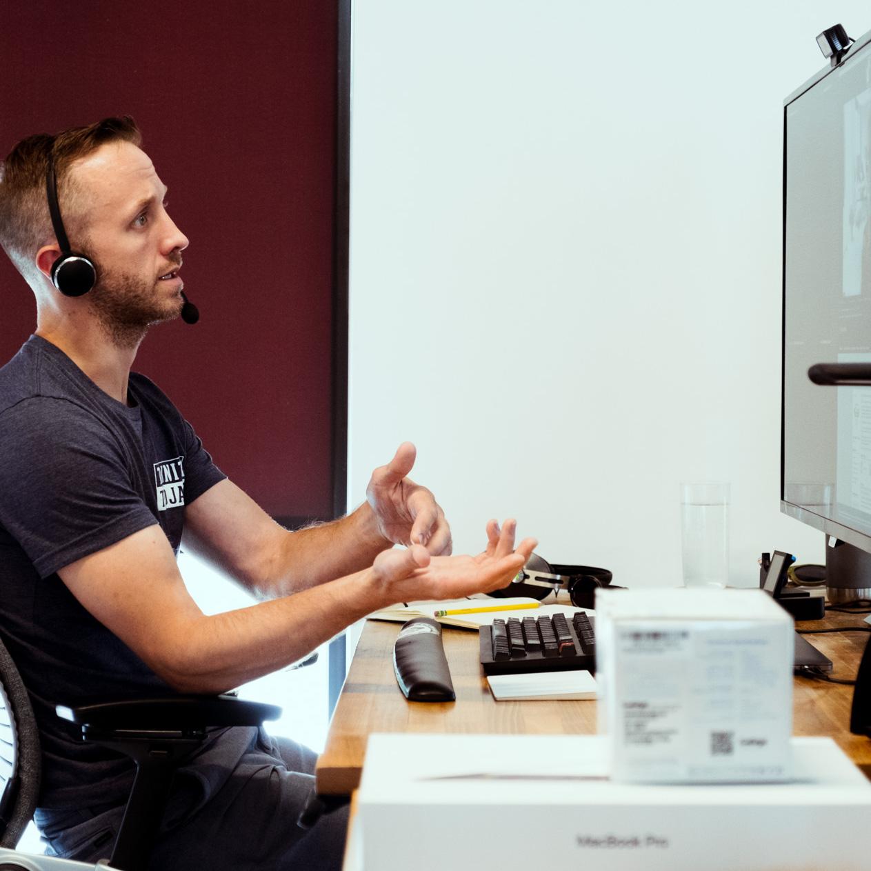 developer talking in remote meeting