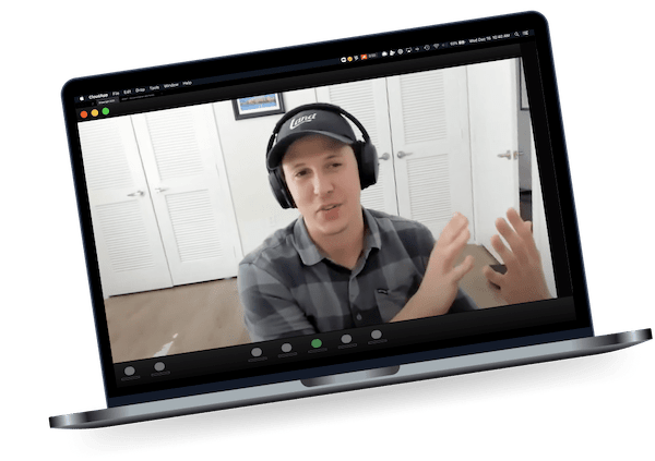 user interview on zoom call mockup