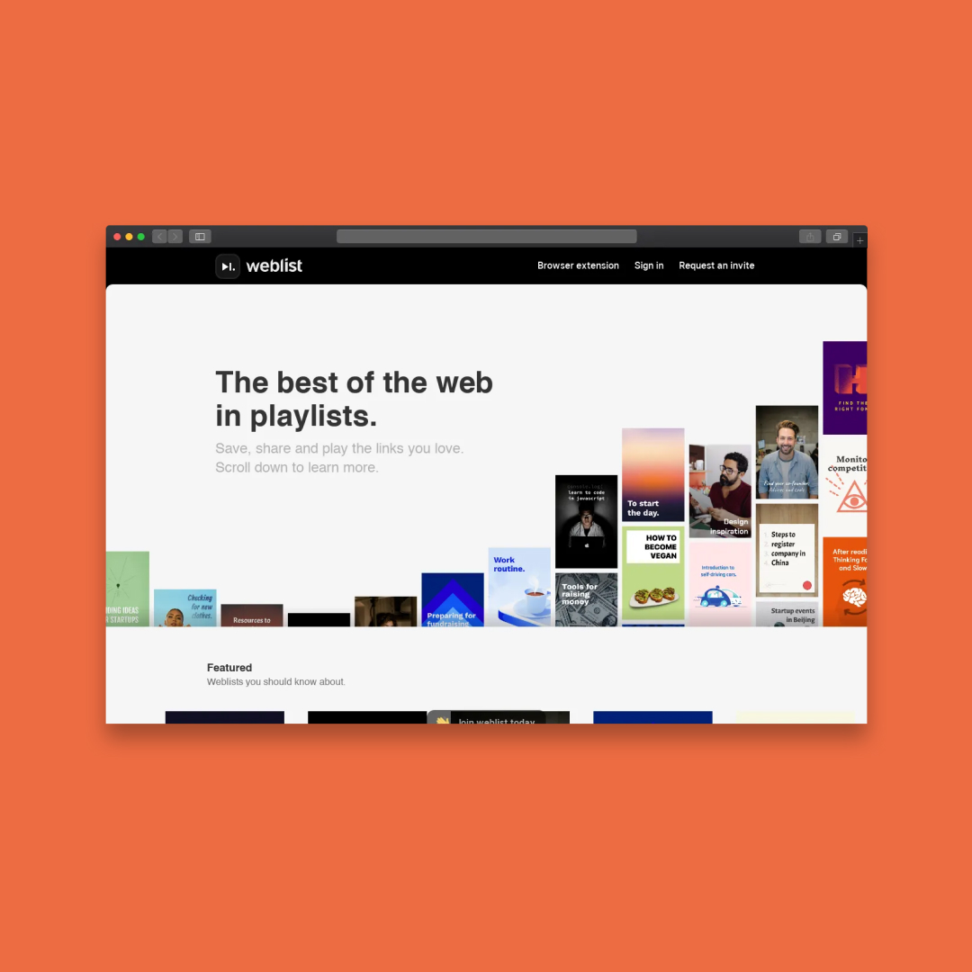 Landing page for chrome extension: weblist