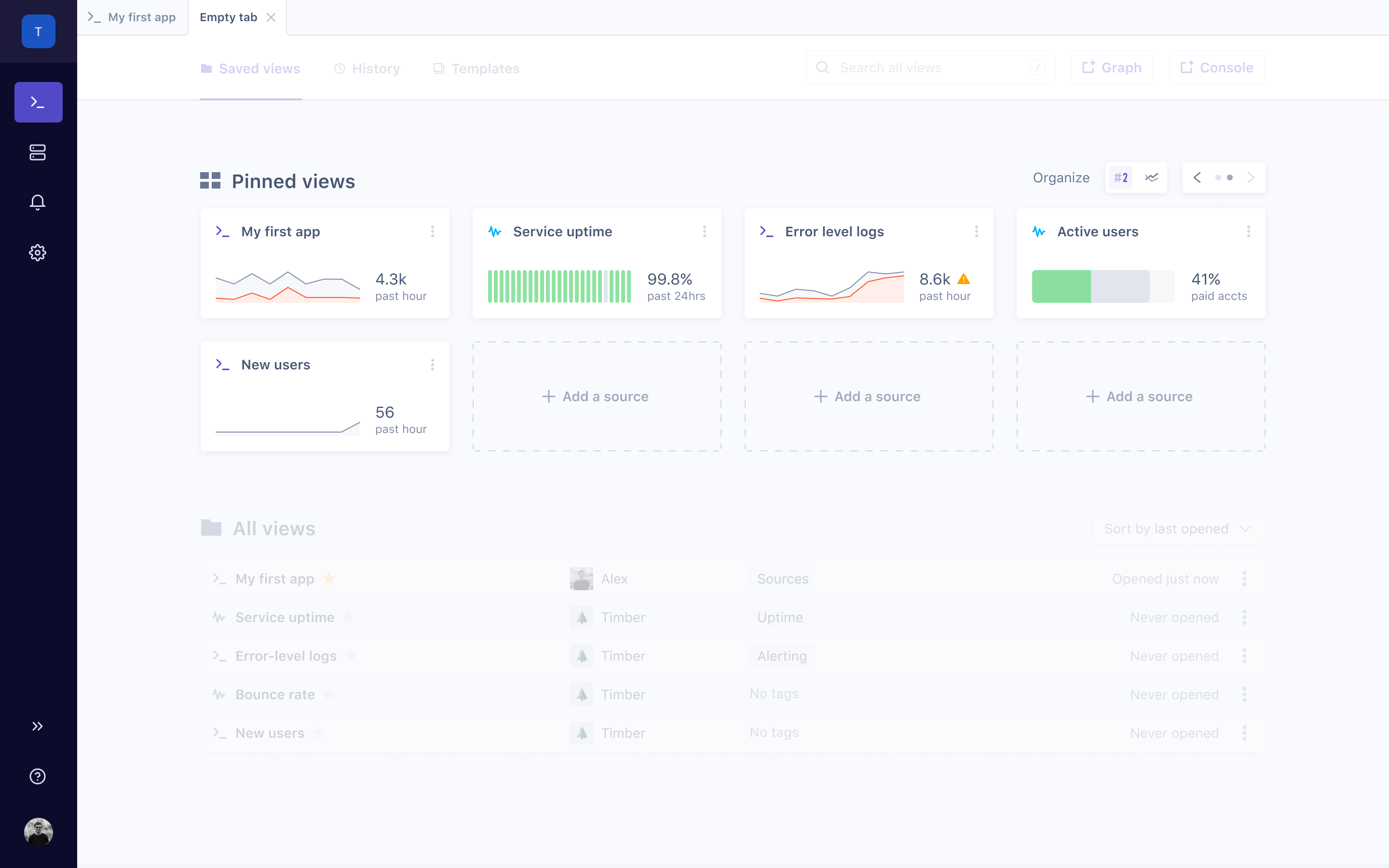 Dashboard for Timber app