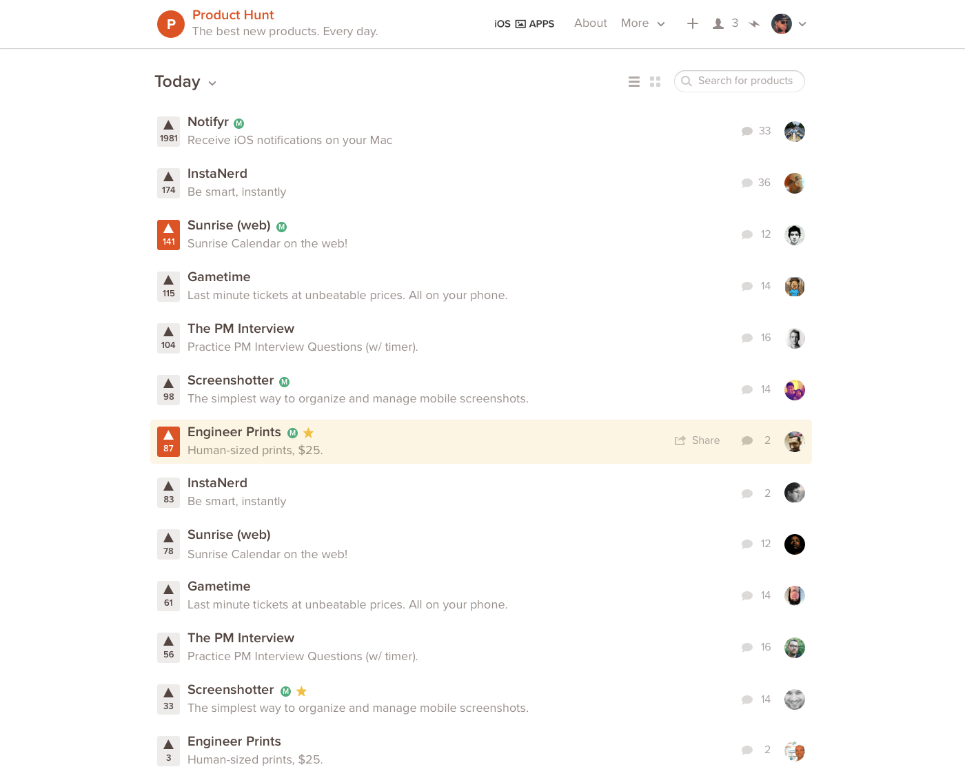 ProductHunt interface design
