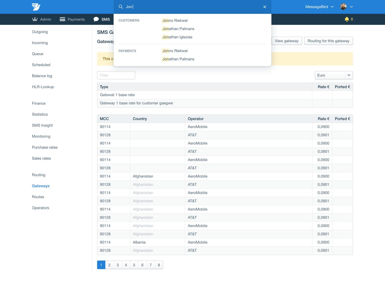 Messagebird dashboard design