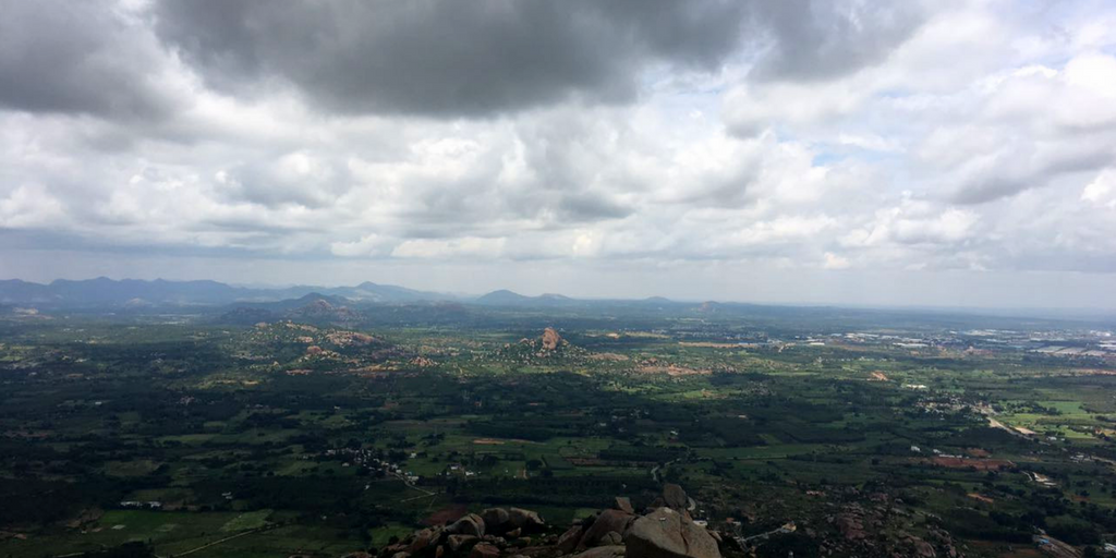 Wide view at the top of Shivaganga Temple