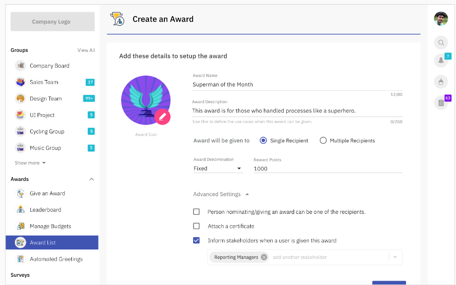 Option to add stakeholders who need to be notified about the award