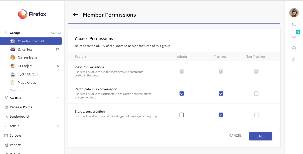 Admins can set member access permissions