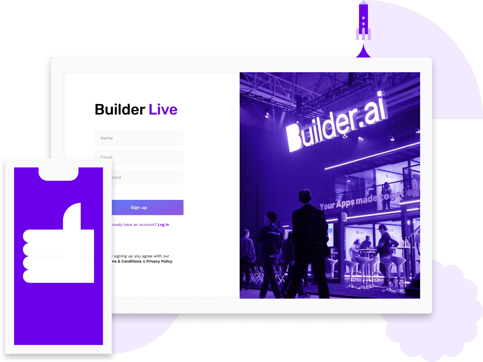 Builder Live with Builder.ai exhibition booth and a contact form