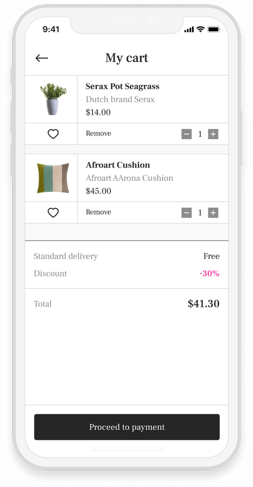 Retail app image interface in a mobile device
