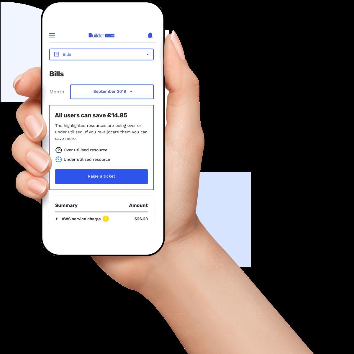 Builder Cloud dashboard on mobile screen