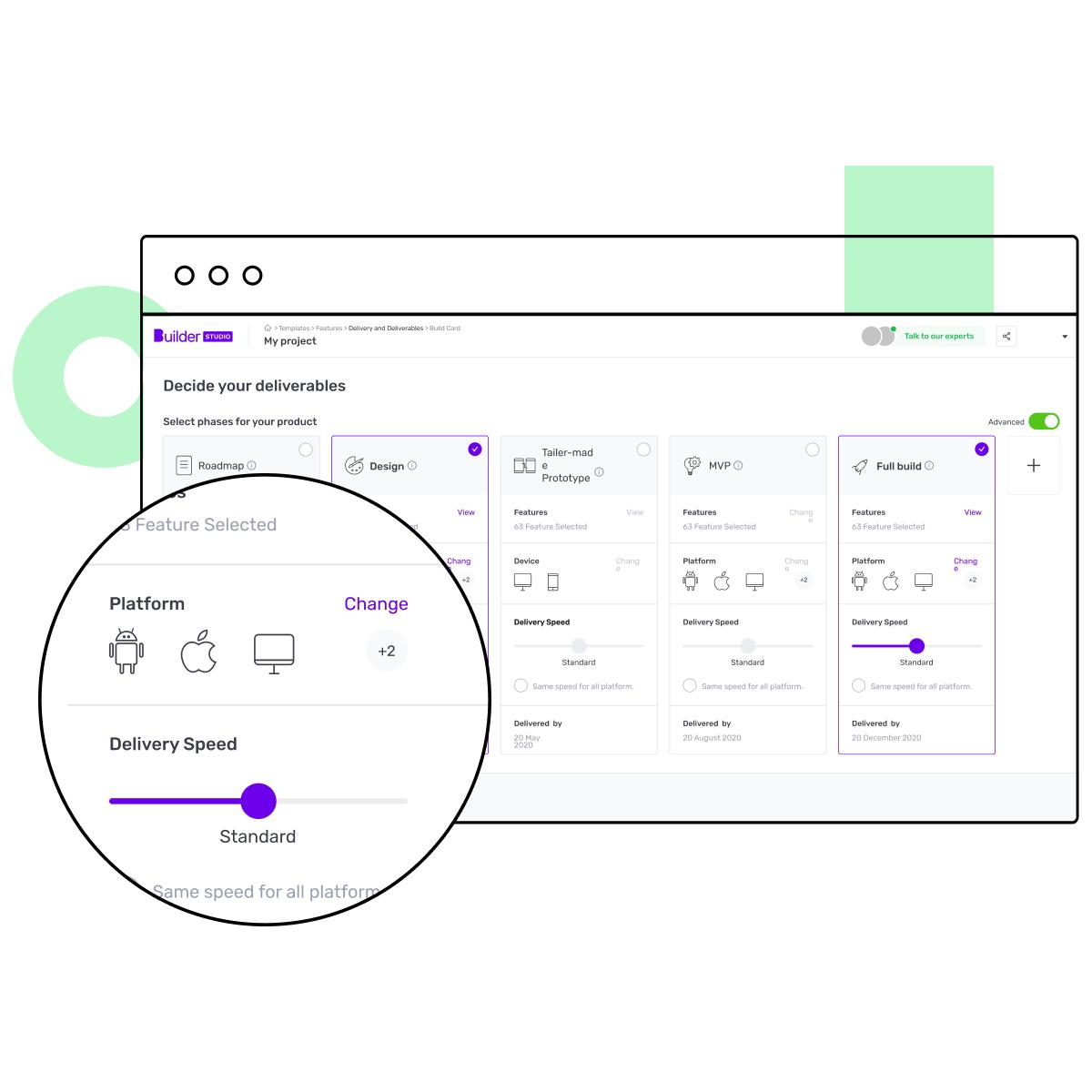 Builder Care dashboard screen with software development platforms