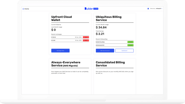 Builder Cloud dashboard with monthly expenditure and recharges