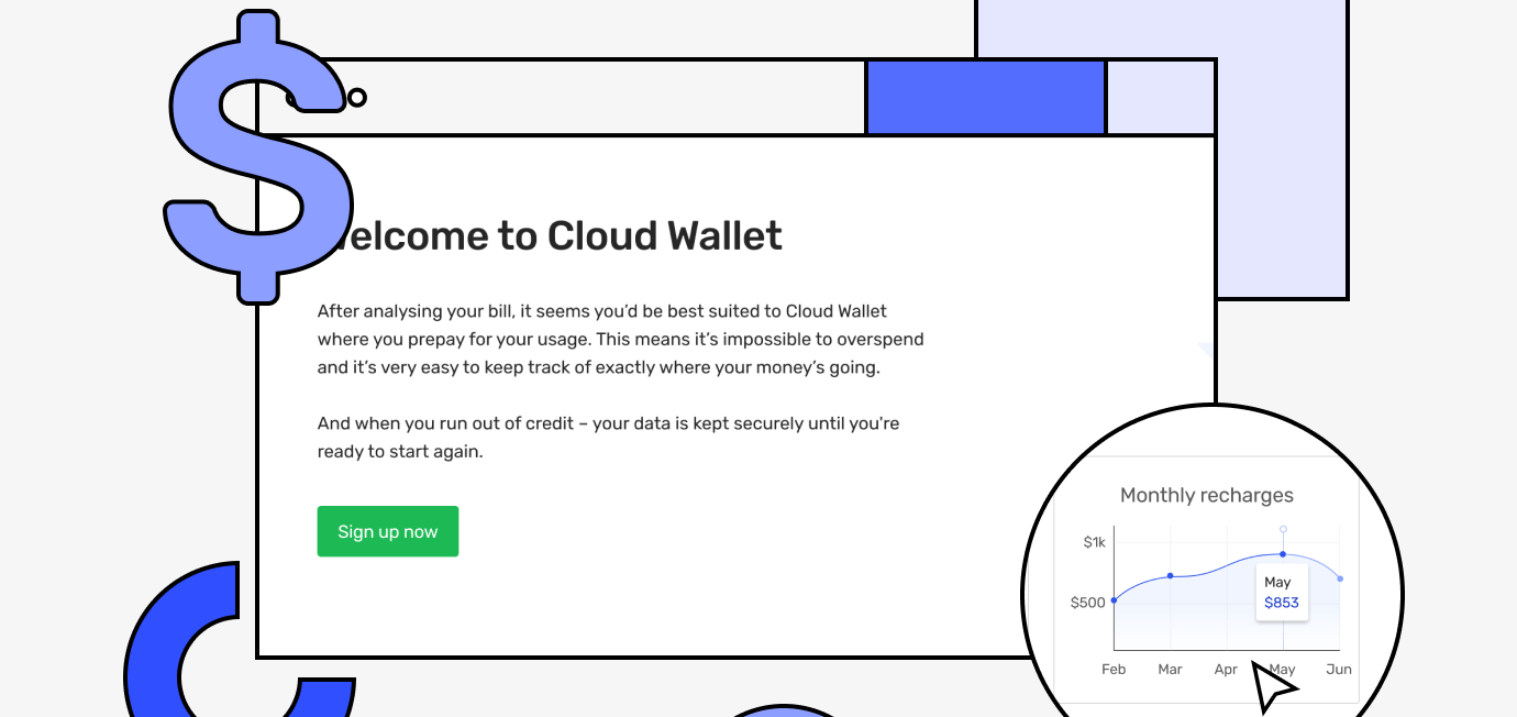Cloud wallet welcome screen with signup