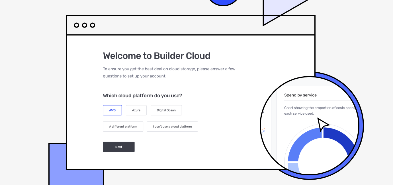 Builder Cloud welcome screen with cloud platforms
