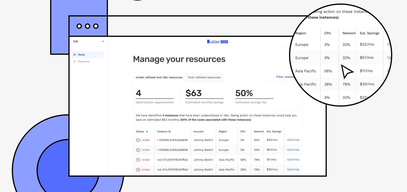 Builder Cloud resource management screen