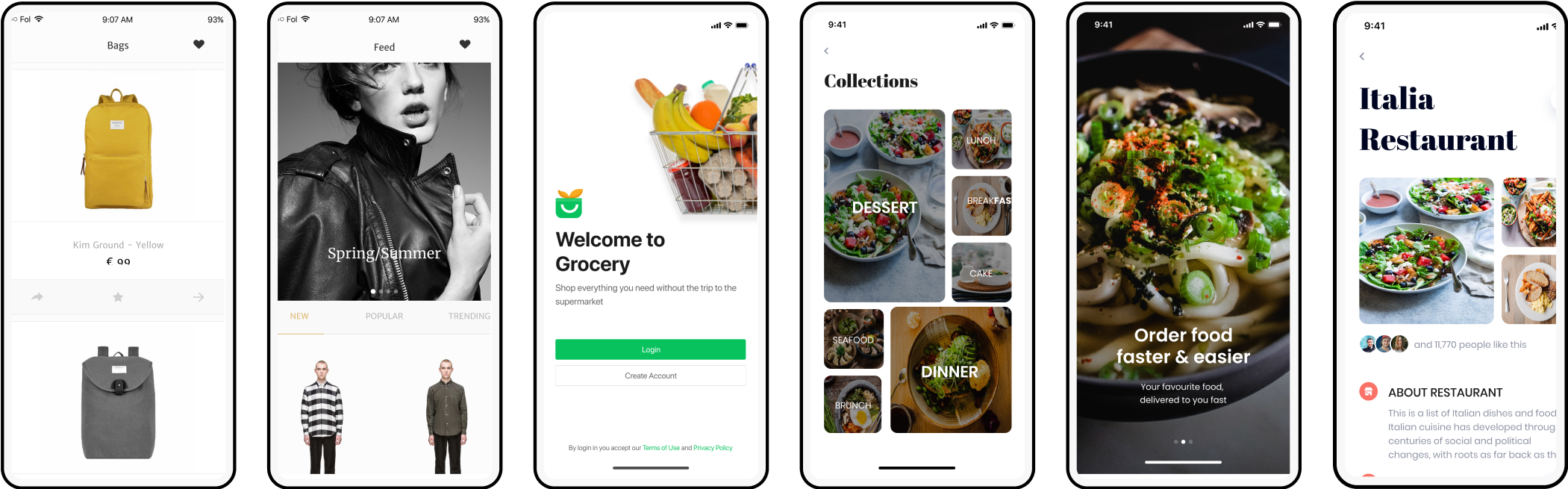App screen collection for delivery and e-com apps