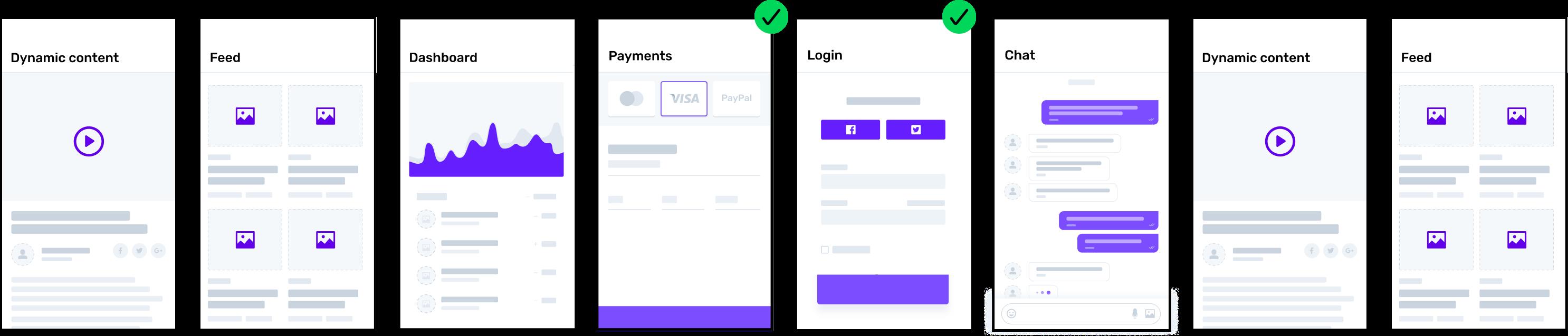 App prototype screens