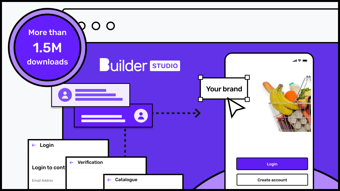 Builder Studio screen with design illustration and icons